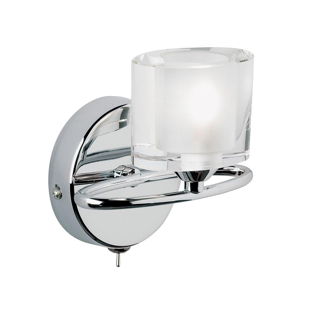 Endon 91181 - Sonata Wall 33W Chrome Effect Plate & Clear Crystal (K9) Glass With Frosted Inner