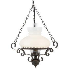 Searchlight 576Ru Rustic Wrought Iron Oil Lantern With Opal Glass Diffuser