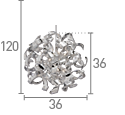 Searchlight 5816-6Cc Curls Chrome 6 Light Pendant Fitting Lined With Crystal Beads