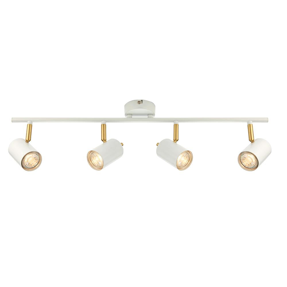 Endon 59933 - Gull 4Lt Bar 3.5W Matt White Paint & Satin Brushed Gold Effect Plate