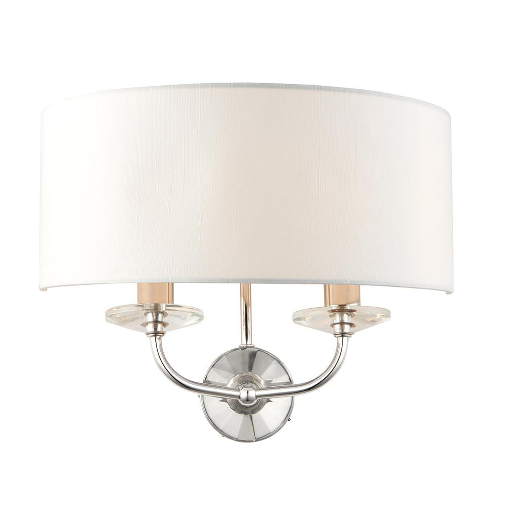 Endon 60180 - Nixon 2Lt Wall 40W Bright Nickel Plate & Vintage White Faux Silk & Clear Crystal (K9) Glass Detail