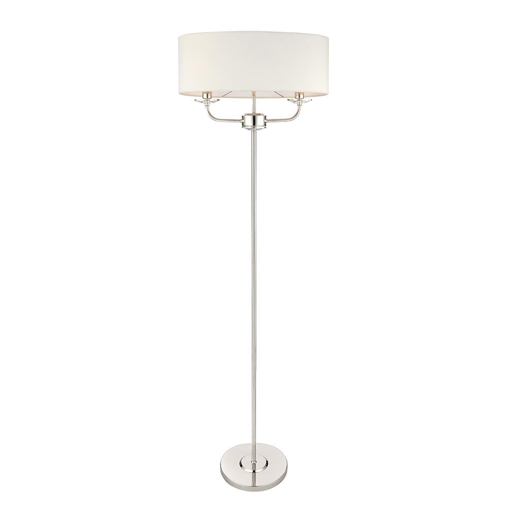 Endon 60803 - Nixon 2Lt Floor 40W Bright Nickel Plate & Vintage White Faux Silk & Clear Crystal (K9) Glass Detail