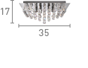Searchlight 6404-4Cc Hanna Chrome 4 Light Square Semi-Flush With Clear Facetted Crystal Balls