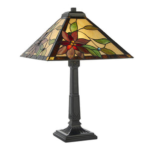 Interiors 1900 - 64230 - Lelani Medium Table 60W Tiffany Style Glass & Matt Black Paint