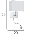 Searchlight 6519Cc Oblong Chrome Wall Light Oblong White Shade, Led Flexi-Arm, Switched