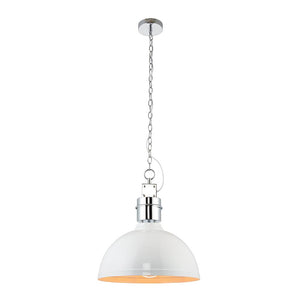 Endon 67556 - Collingham Pendant 40W Gloss White Paint & Satin Chrome Effect Plate