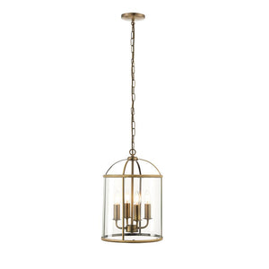 Endon 69455 - Lambeth 4Lt Pendant 40W Antique Brass Effect Plate & Clear Glass