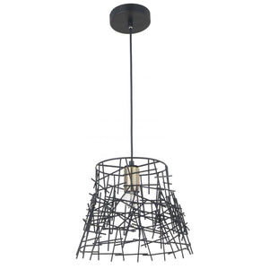 Magnalux Bambu 1 Light Black Metal Pendant Antique Brass
