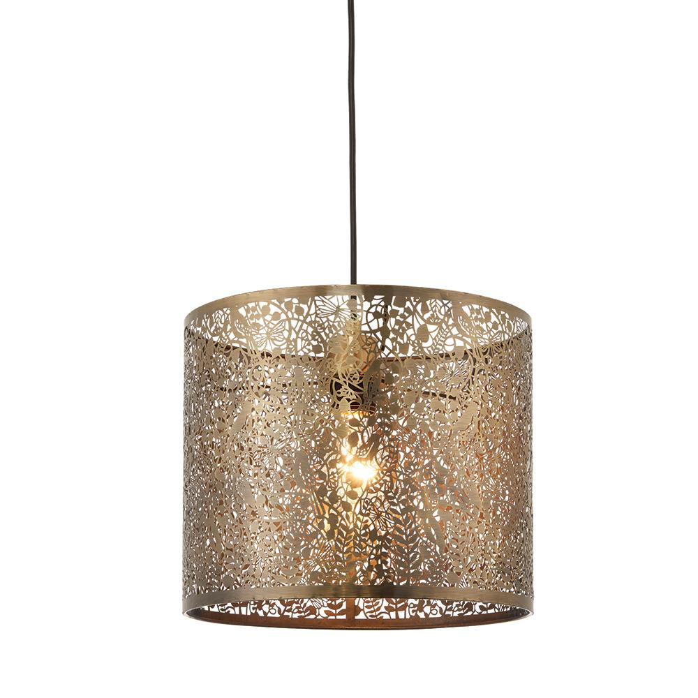 Endon 70103 - Secret Garden 300Mm Pendant Shade 60W Antique Brass Effect Plate