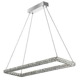 Searchlight 7012Cc Clover Chrome Led Rectangle Ceiling Light Fitting With Crystal Glass, Adjustable