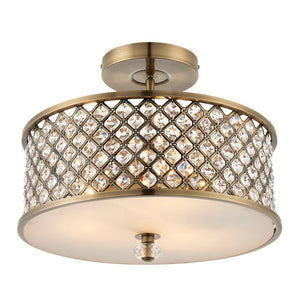 Endon 70558 - Hudson 3Lt Semi Flush 60W Antique Brass Effect Plate & Clear Crystal (K9) Drops & Frosted Glass