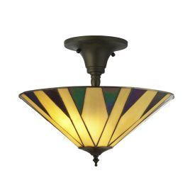 Searchlight 7063-42 Charlston, Tiffany Semi Flush, Yellow/Multi