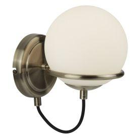 Searchlight 7091Ab 1 Light Wall Bracket, Antique Brass, Black Braided Cable, Opal White Glass Shade