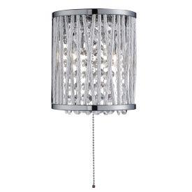 Searchlight 7222-2Cc Elise 2 Light Chrome Wall Bracket With Crystal Drops/Twisted Metal Rods