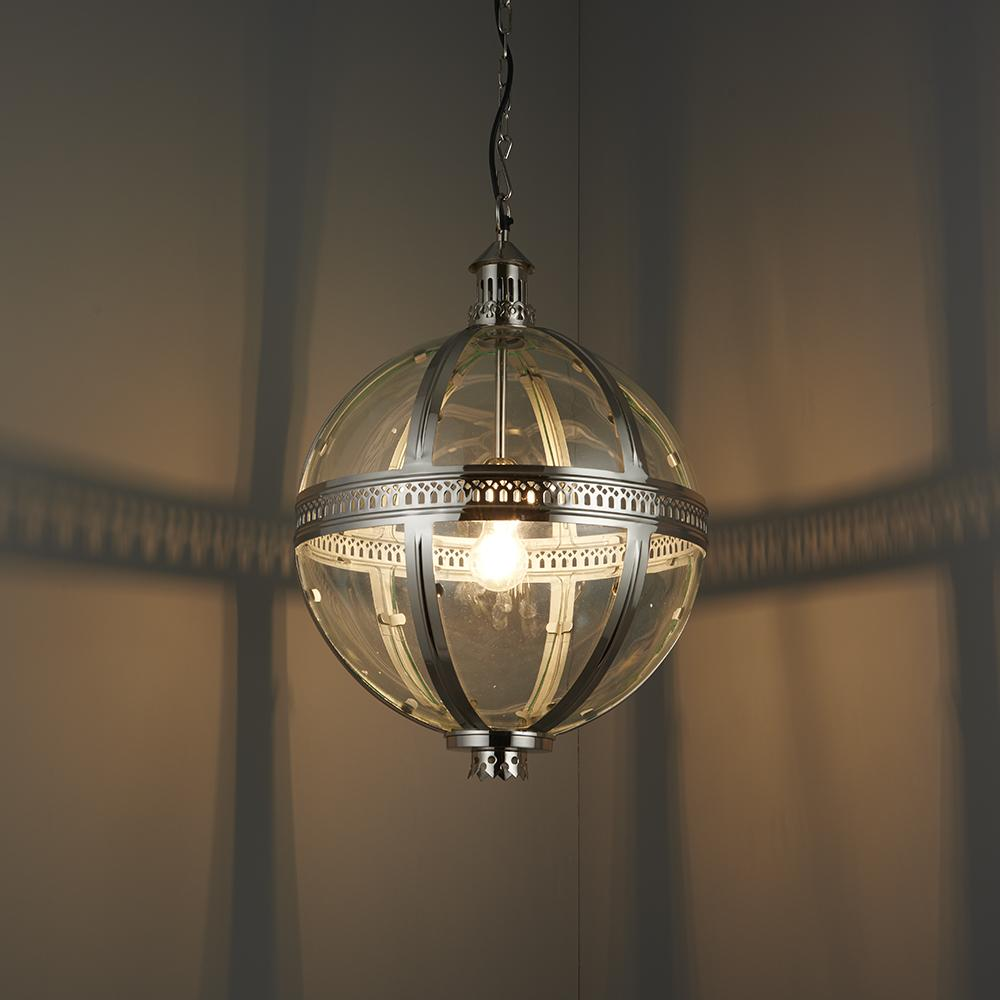 Endon 73108 - Vienna 410Mm Pendant 40W Bright Nickel Plated On Solid Brass & Clear Glass
