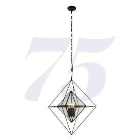 Quennie 81B-3Bk 3Lt Pendant - Black With Clear Glass