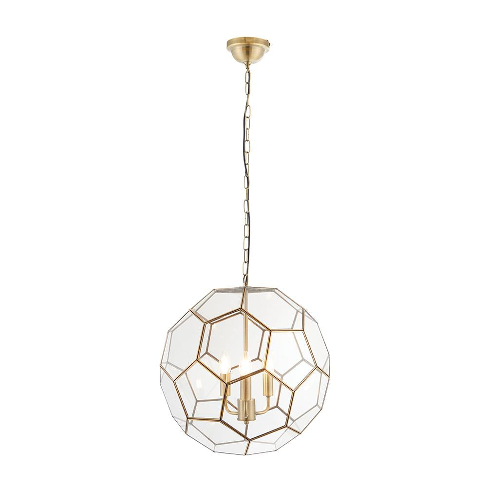 Endon 73560 - Miele 3Lt Pendant 40W Antique Brass Effect Plate & Clear Glass