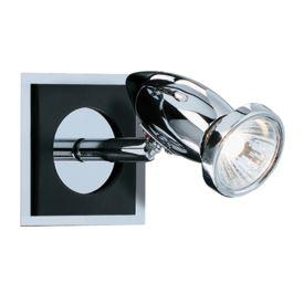 Searchlight 7491 Comet Aluminium Chrome Black Spotlight Wall Bracket, Switched, Adjustable Head