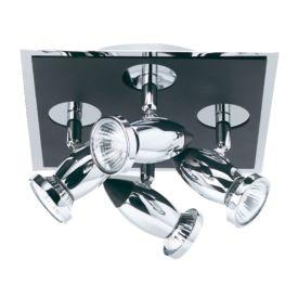 Searchlight 7494 Comet Die Cast Aluminium Chrome & Black 4 Light Spotlight, Adjustable Heads