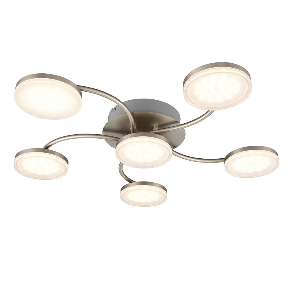 Endon 75202 - Helsinki 6Lt Semi Flush 5W Chrome Effect Plate & Frosted Acrylic