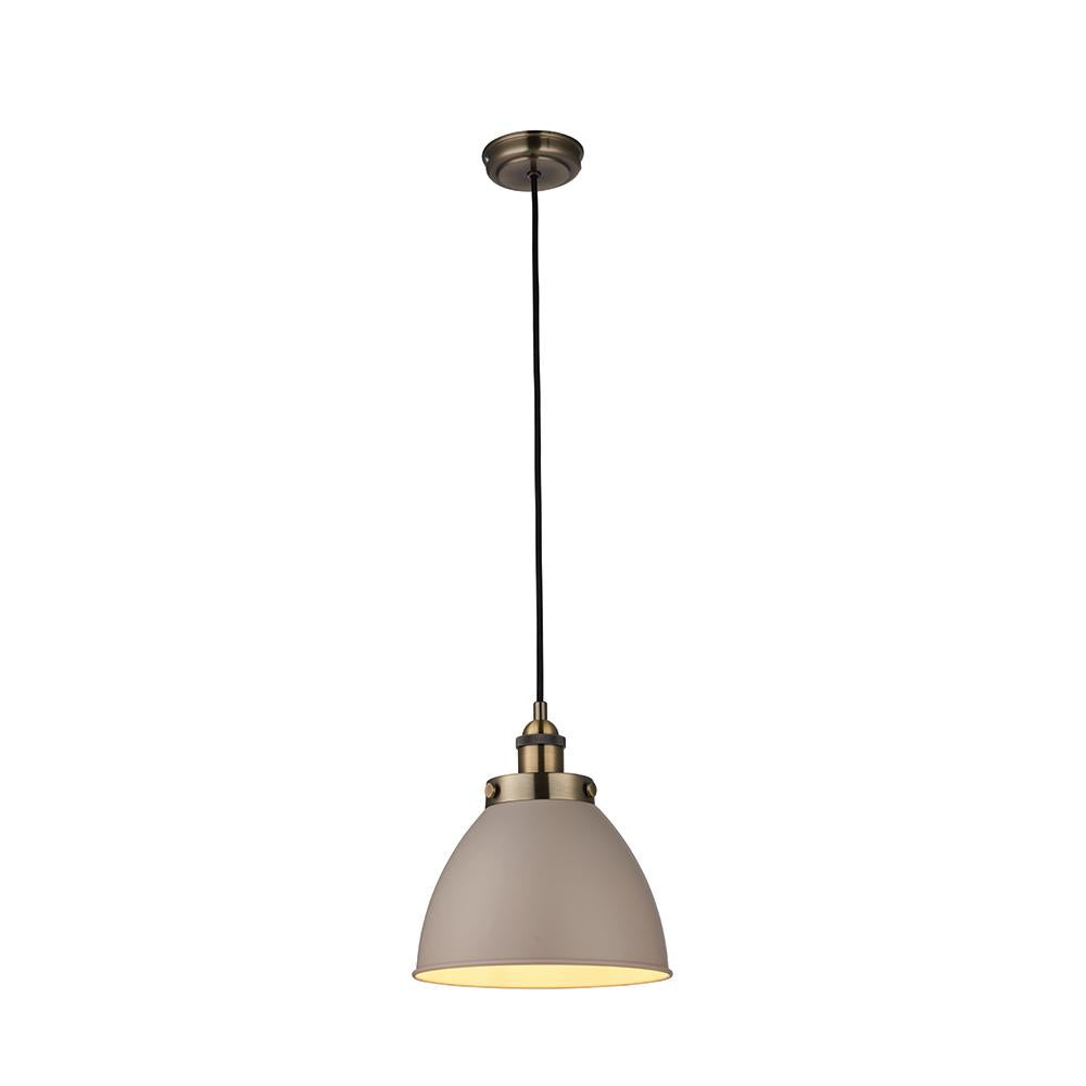Endon 76328 - Franklin Pendant 40W Satin Taupe & Antique Brass Effect Plate