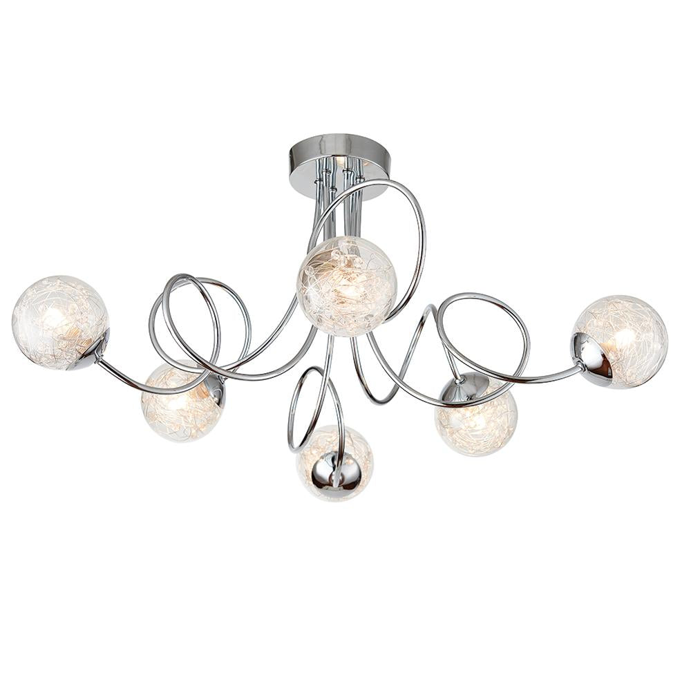 Endon 76349 - Auria 6Lt Semi Flush 3W Chrome Effect Plate With Chrome Wire & Clear Bead Shade