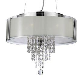 Searchlight 7824-4Cc Chrome 4 Light Pendant With Frosted Glass Panels & Clear Glass Drops