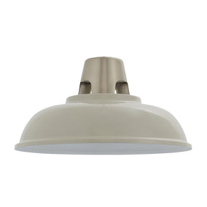 Endon 80660 - Henley Pendant Shade 60W Gloss Taupe Paint & Satin Nickel Effect Plate & Gloss White Paint