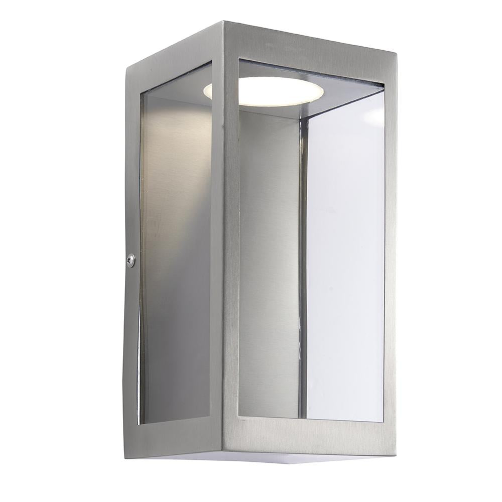 Endon 82014 - Dean Wall Ip44 11W Brushed Stainless Steel & Clear Glass