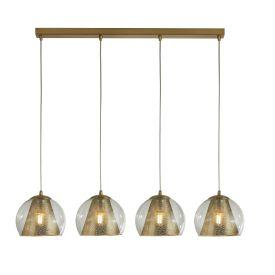 Searchlight 8274-4Sb Conio 4Lt Pendant, Satin Brass And Clear Glass