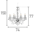 Searchlight 8888-8Cl Marie Therese Clear 8 Light Chandelier With Crystal Drops