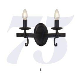 Wayona 96B-2Bk 2Lt Wall Light - Matt Black