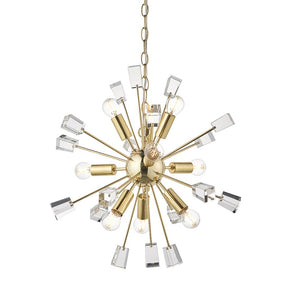 Endon 90293 - Miro 9Lt Pendant 40W Satin Brass Effect Plate & Clear Crystal (K5) Glass