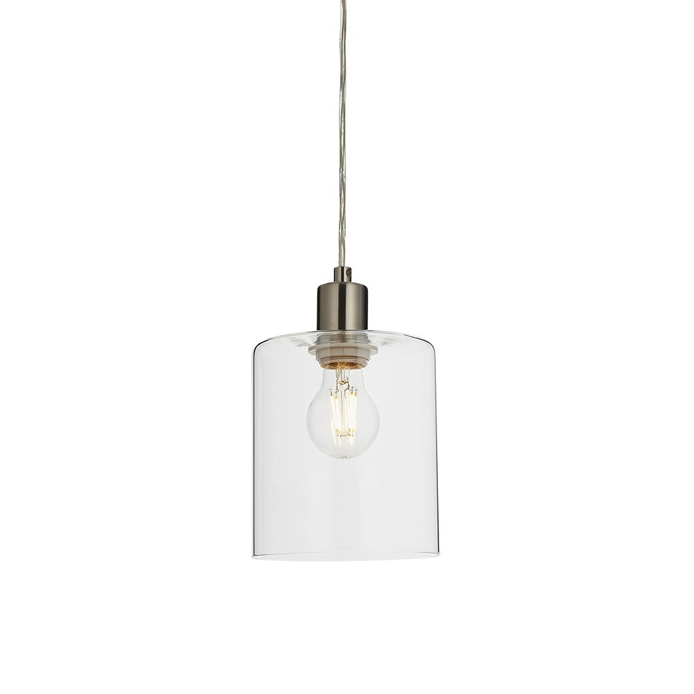 Endon 90563 - Toledo Pendant 40W Brushed Nickel Plate & Clear Glass