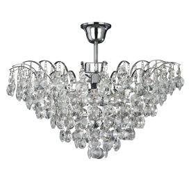 Searchlight 9070-48Cc Limoges Chrome 3 Light Semi-Flush Trimmed With Sunflower Crystals