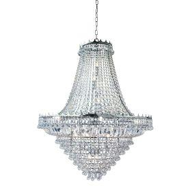 Searchlight 9112-102Cc Versailles Chrome Large 19 Light Chandelier Trimmed With Crystal Glass Chains