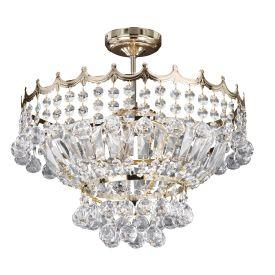 Searchlight 9113-39Go Versailles Gold 5 Light Semi-Flush Fitting Trimmed With Crystal Glass Chains