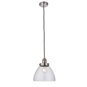 Endon 91738 - Hansen Pendant 40W Brushed Silver Effect Paint & Clear Glass