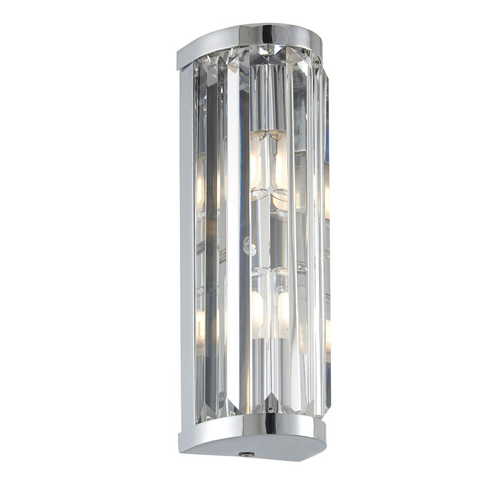 Endon 91820 - Shimmer 2Lt Wall Ip44 18W Chrome Effect Plate & Clear Crystal (K9) Glass Detail