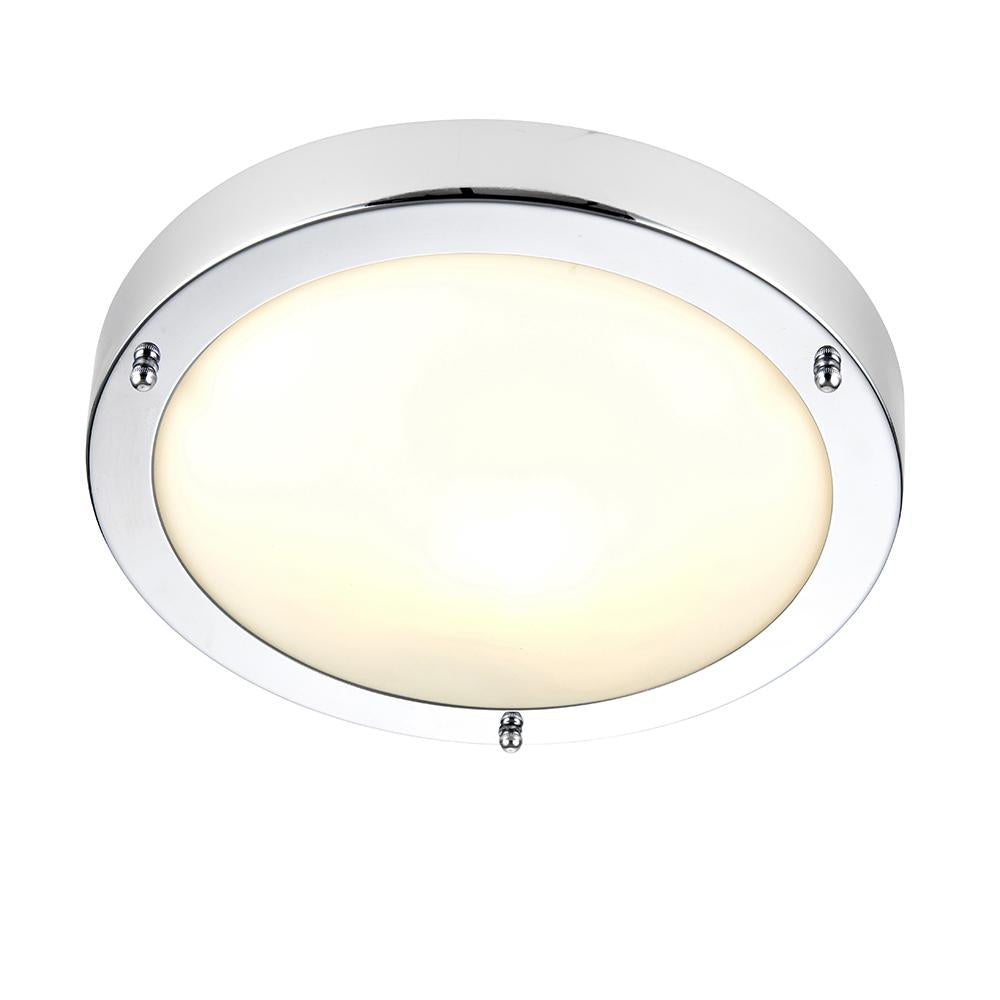 Endon 91830 - Portloe Flush Ip44 60W Chrome Effect Plate & Frosted Glass