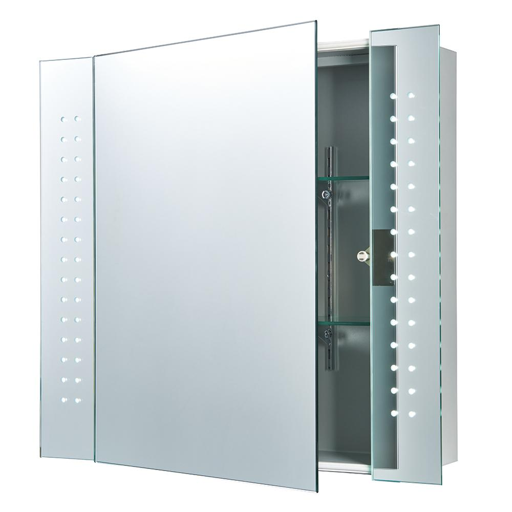 Endon 91831 - Reydon Shaver Cabinet Mirror Ip44 0.16W Mirrored Glass & Matt Silver Effect Paint