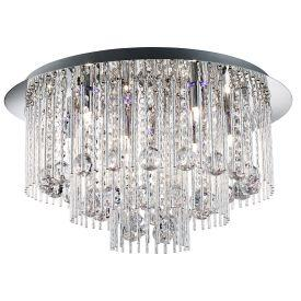 Searchlight 9198-8Cc Beatrix Chrome Blue Led Ceiling Light With Crystal Drops