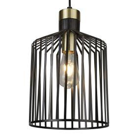 Searchlight 9413Bk 1 Light Cage Frame Pendant, Black And Gold