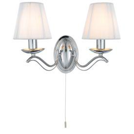 Searchlight 9822-2Cc Andretti Chrome Wall Light With White String Shades