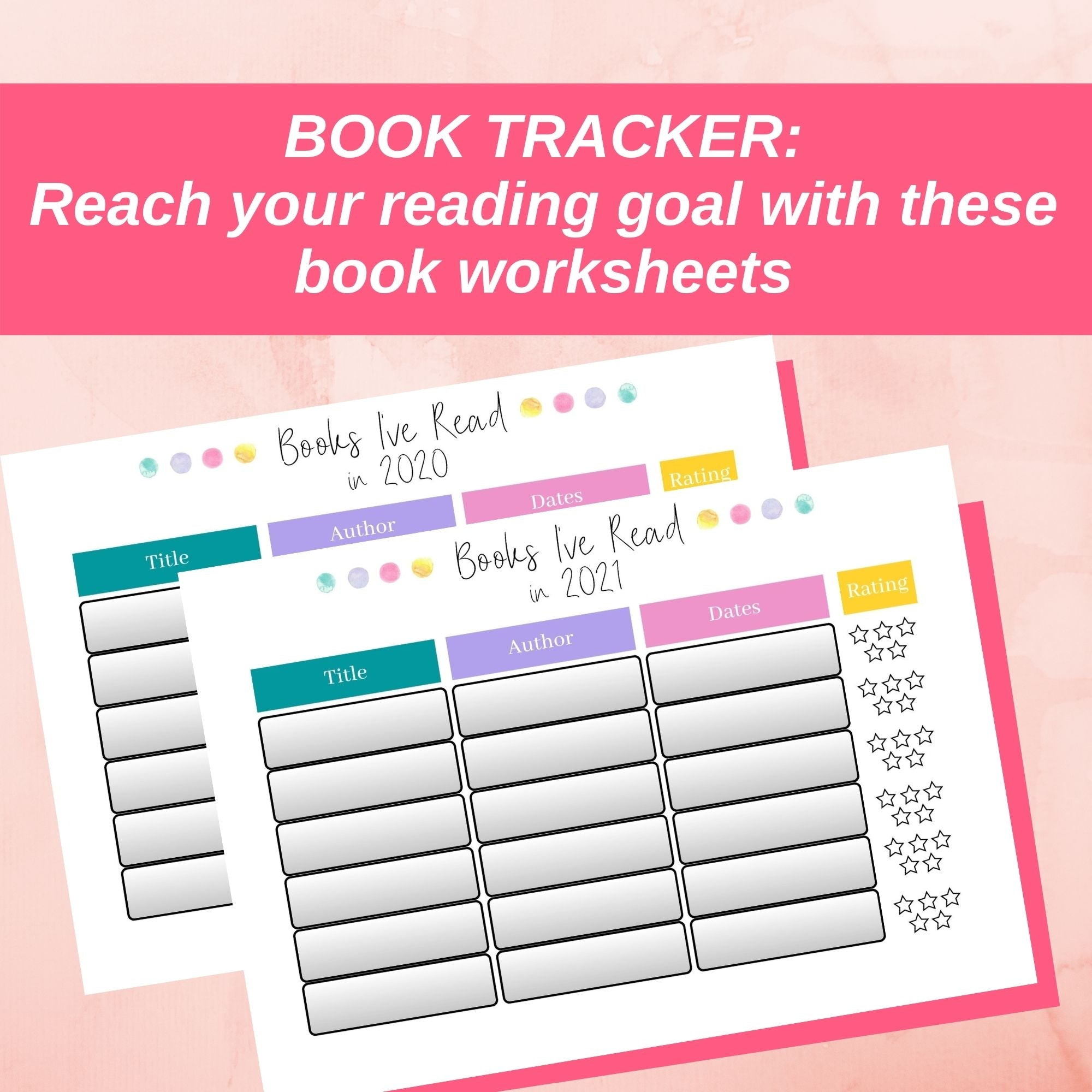book tracker reading goals pink 2020 2021