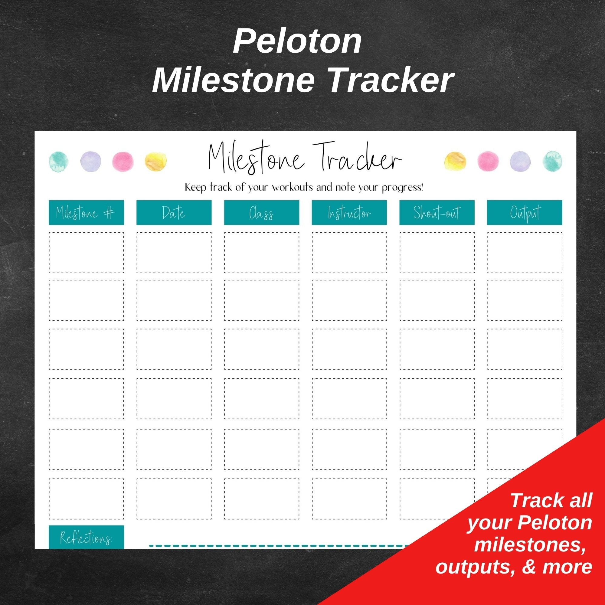 Peloton Milestone Tracker and Workout Planner Sheets (MULTI-COLOR)