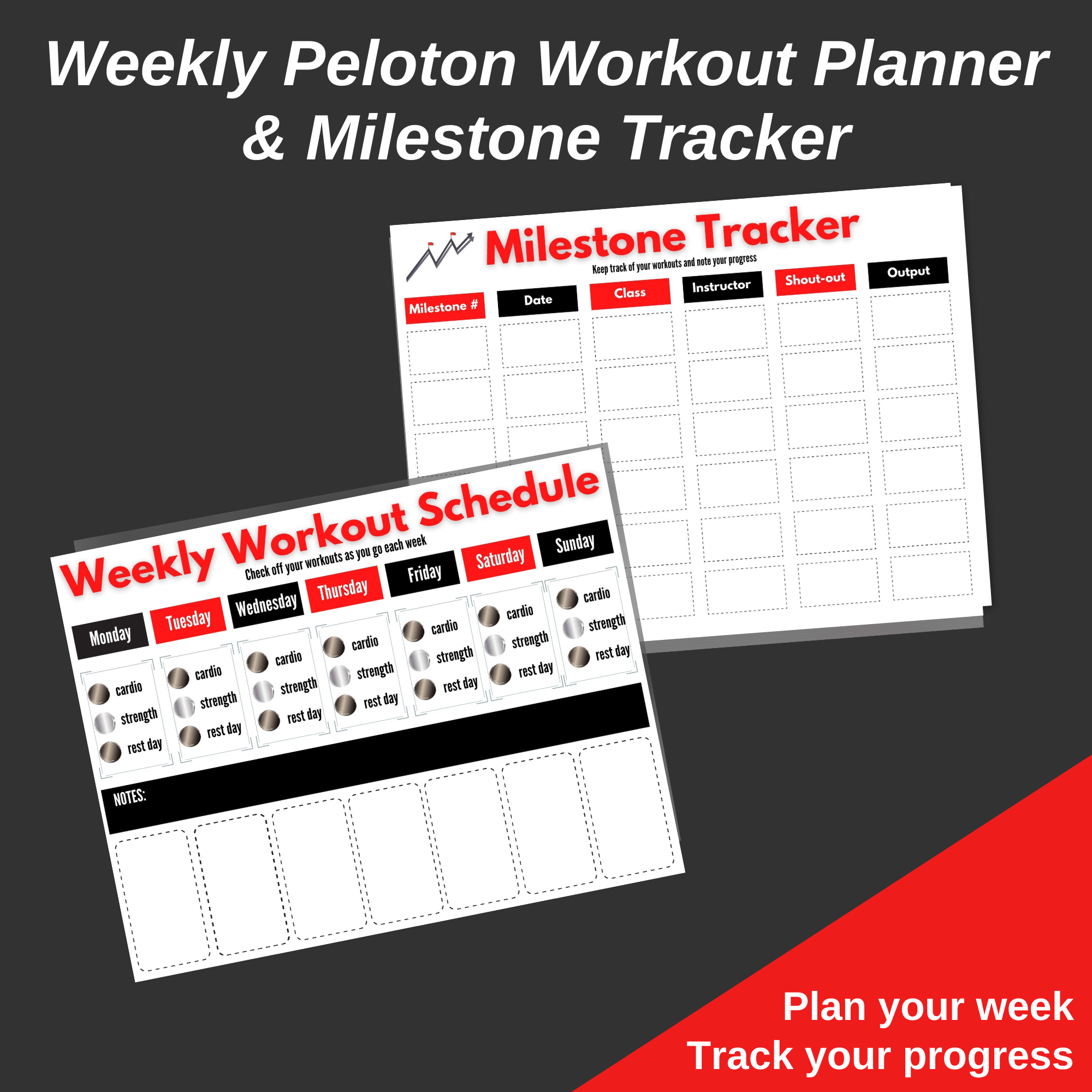 workout planner and milestone tracker red and black