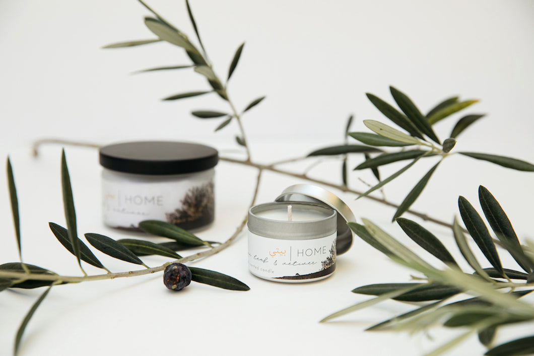 HOME | olive leaf & vetiver scented candle
