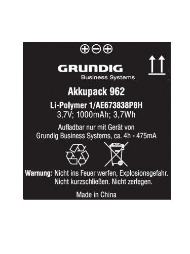 Grundig 962 Rechargeable Battery