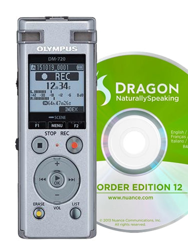 Olympus DM720 Digital Recorder with DNS12 Speech Recognition